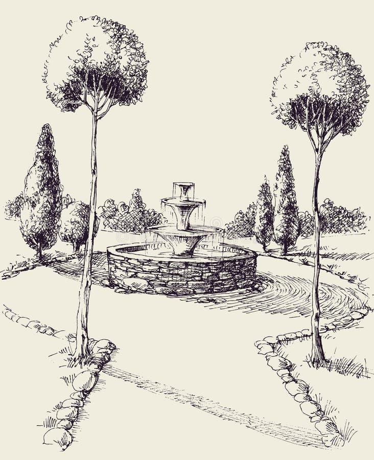 Wasserbrunnen in einer Parkhandzeichnung vektor abbildung