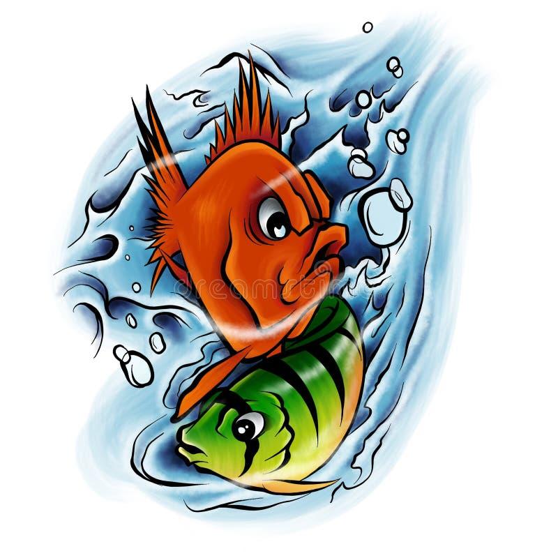 Wasserbunter tropischer Fischunterwassersatz des Aquarells Rotes Meer und exotische Fische nach innen vektor abbildung