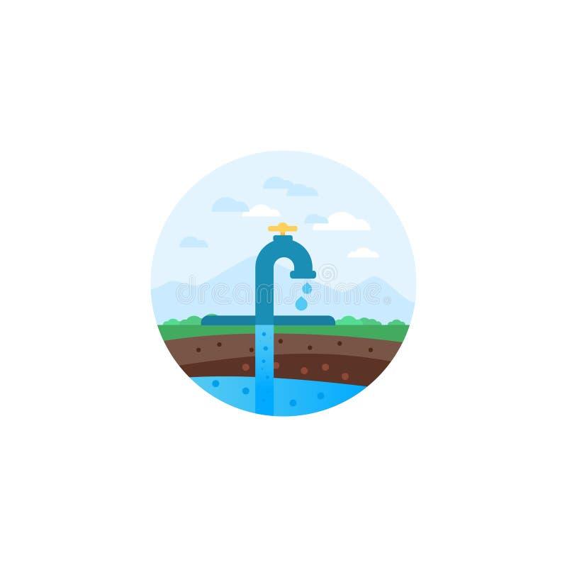 Wasserextraktion Herkömmliche Bohrung lizenzfreie abbildung