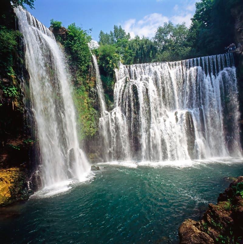 Wasserfälle in Jajce, Bosnien Herzegovina lizenzfreie stockfotografie
