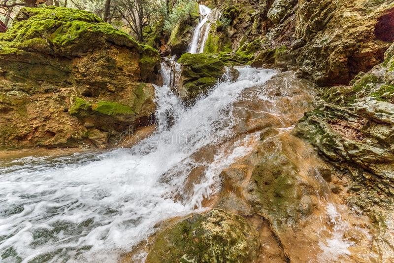 Wasserfälle Salz des Freu bei Orient, Mallorca lizenzfreies stockfoto