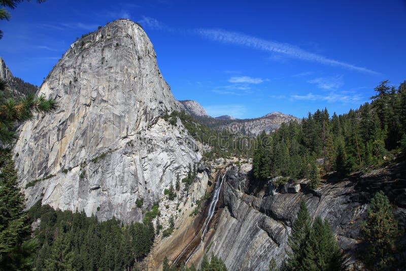 Wasserfall außer Gebirgsspitze in Yosemite Nationalpark in US lizenzfreie stockfotografie