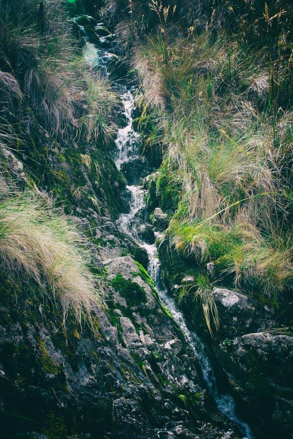 Wasserfall auf Inca Trail auf dem Weg zu Machu Picchu, Peru stockbilder