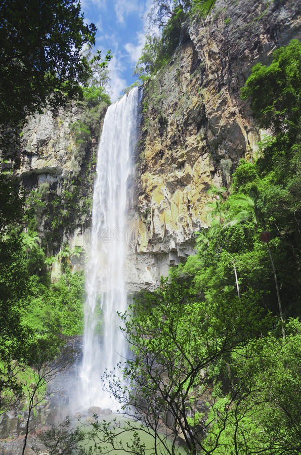 Wasserfall auf Rand des Regenwaldes. stockbild