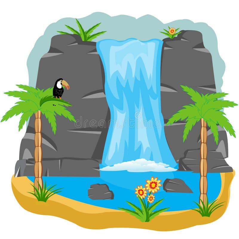 Wasserfall in den Tropen lizenzfreie abbildung