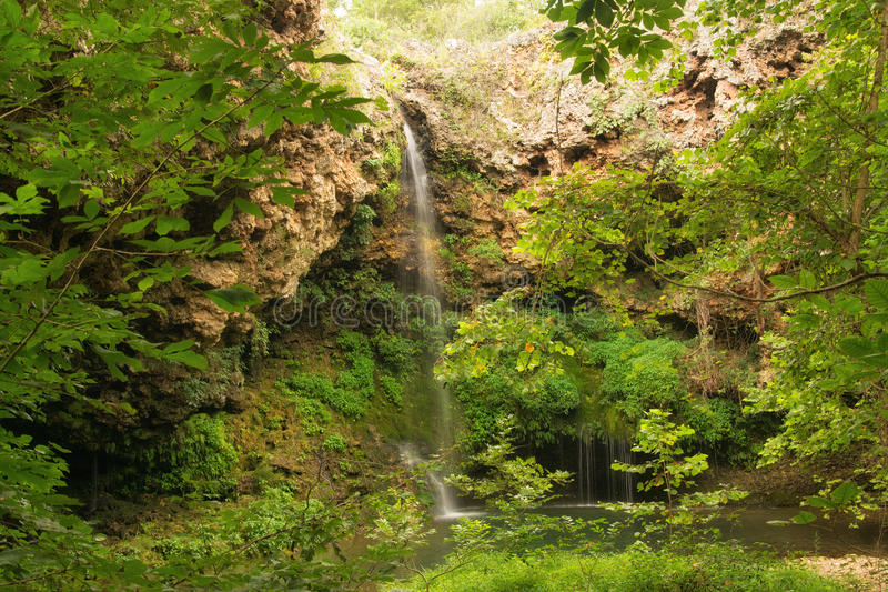 Wasserfall, der in ein kleines Pool läuft stockbilder