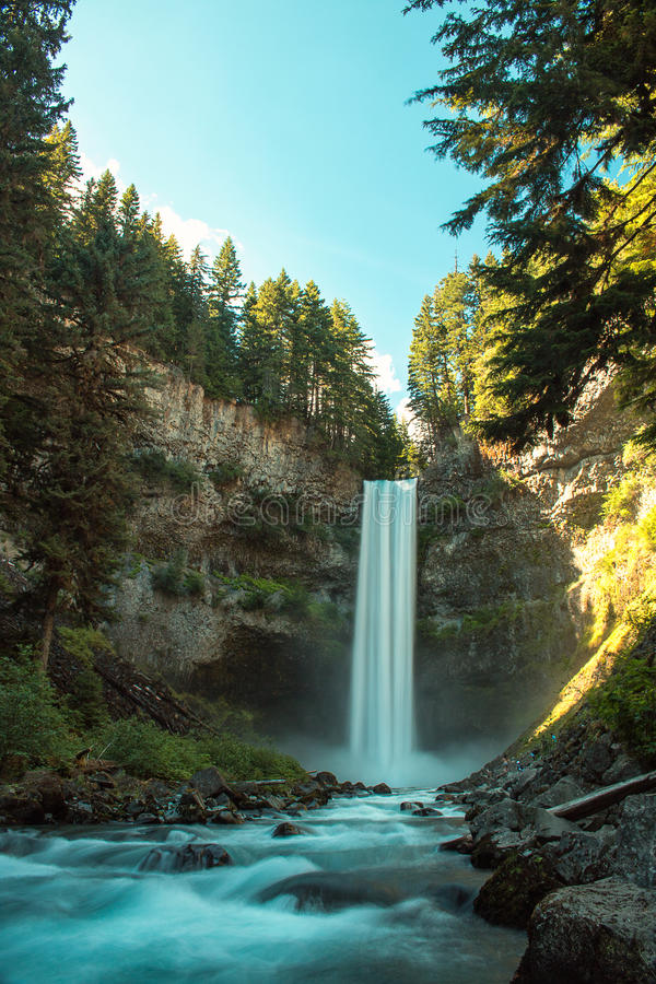 Wasserfall im Holz lizenzfreie stockbilder