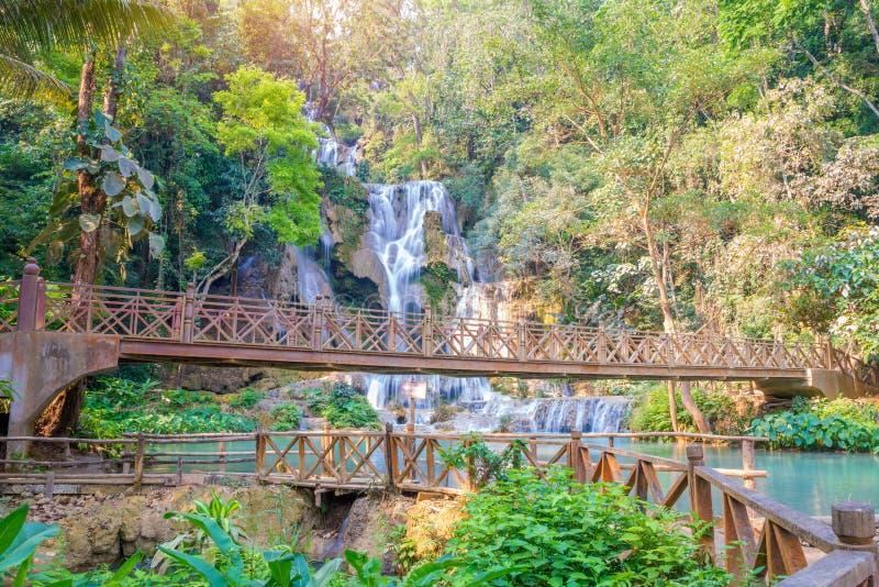 Wasserfall im Regenwald (Tat Kuang Si bei Luang Prabang etwas körniges) lizenzfreies stockfoto