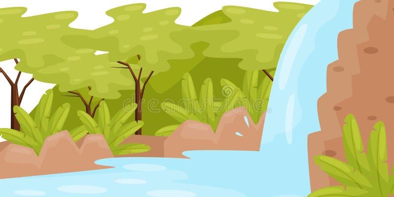 Wasserfall im tropischen Dschungel Naturlandschaft mit Bäumen und wild wachsenden Pflanzen grünes Feld, blauer Himmel Flaches Vek vektor abbildung