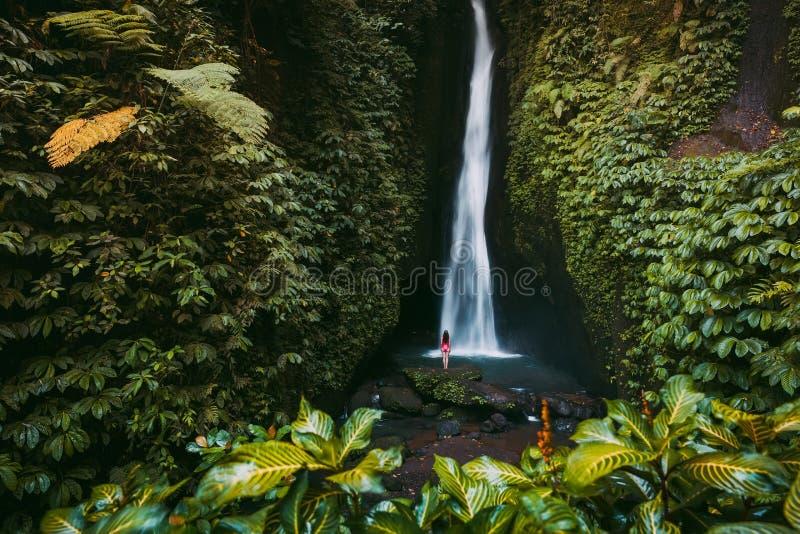 Wasserfall im tropischen Dschungel und allein Frau in Bikini Leke Leke Wasserfall in Bali lizenzfreie stockfotografie