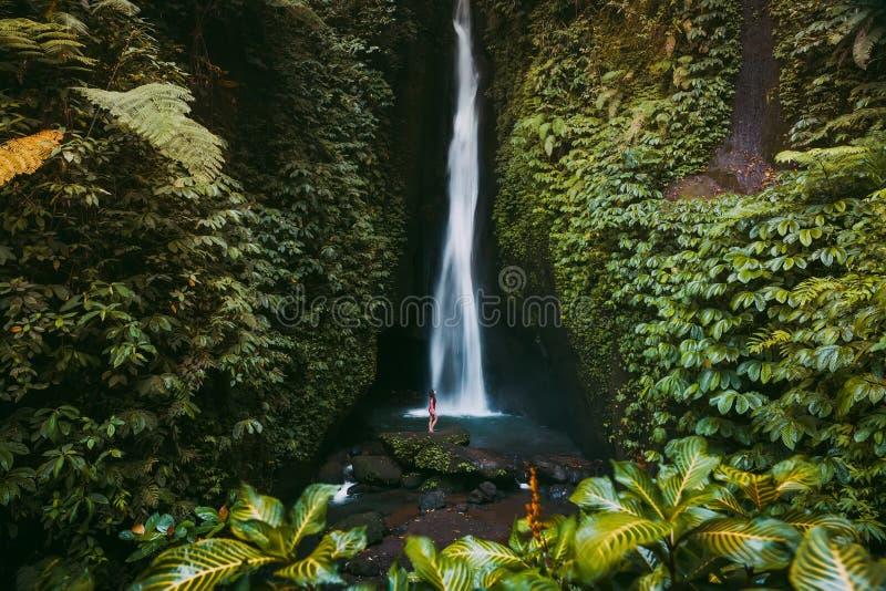 Wasserfall im tropischen Dschungel und allein Frau in Bikini Leke Leke Wasserfall in Bali stockfotos