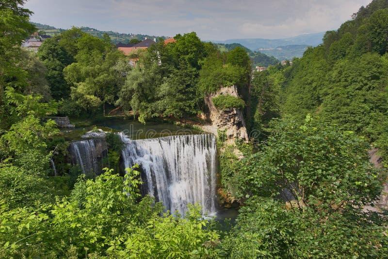 Wasserfall Jajce stockfoto