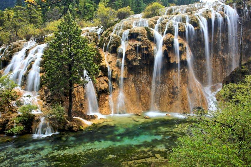 Wasserfall, Jiuzhaigou szenischer Bereich lizenzfreies stockfoto