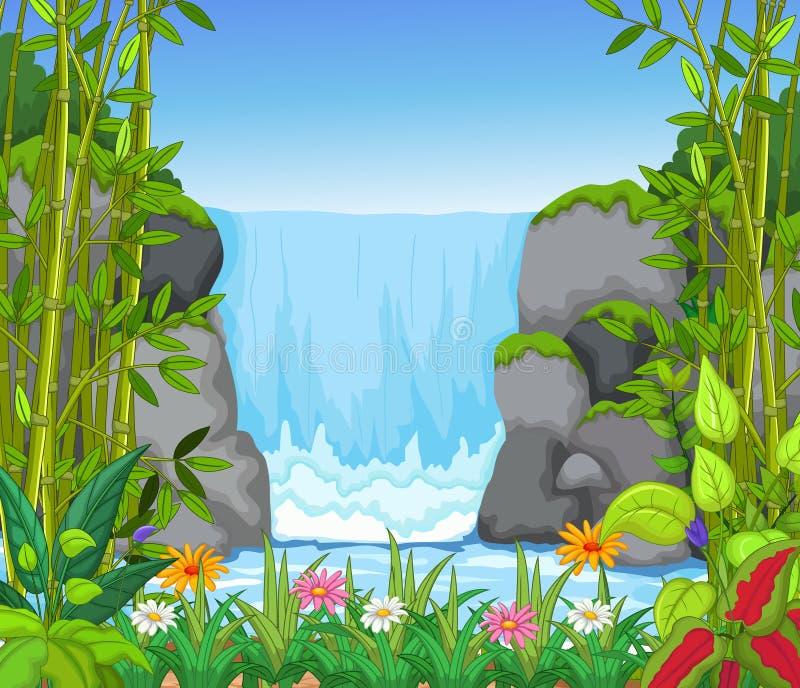 Wasserfall mit Landschaftsansichthintergrund lizenzfreie abbildung