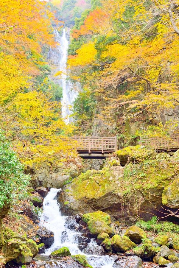 Wasserfall und Holzbrücke Kanba während des Herbstes in Okayama lizenzfreie stockfotos
