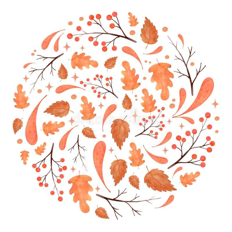 Wasserfarbene Herbstkreislauf von Blättern, Zweigen und Beeren stockfotografie