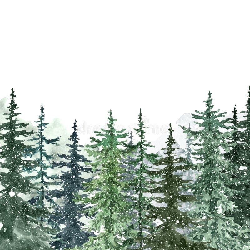 Wasserfarbene Schneeflocken Banner mit handgemalten Wäldern und fallender Schnee auf weiß Winterwunderland stock abbildung
