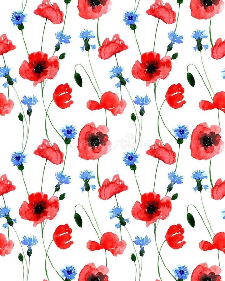 Wasserfarbenes Muster für nahtlose Wildmohnblumen und -blumen Endlos gedruckt in: Textilien, Kleidung, Mode, Bettwäsche, Kleidung stock abbildung