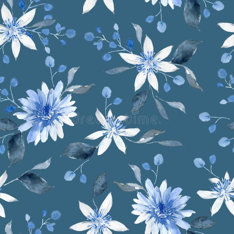 Wasserfarbenes nahtloses Muster mit schwarzen und blauen Pflanzen stockbild