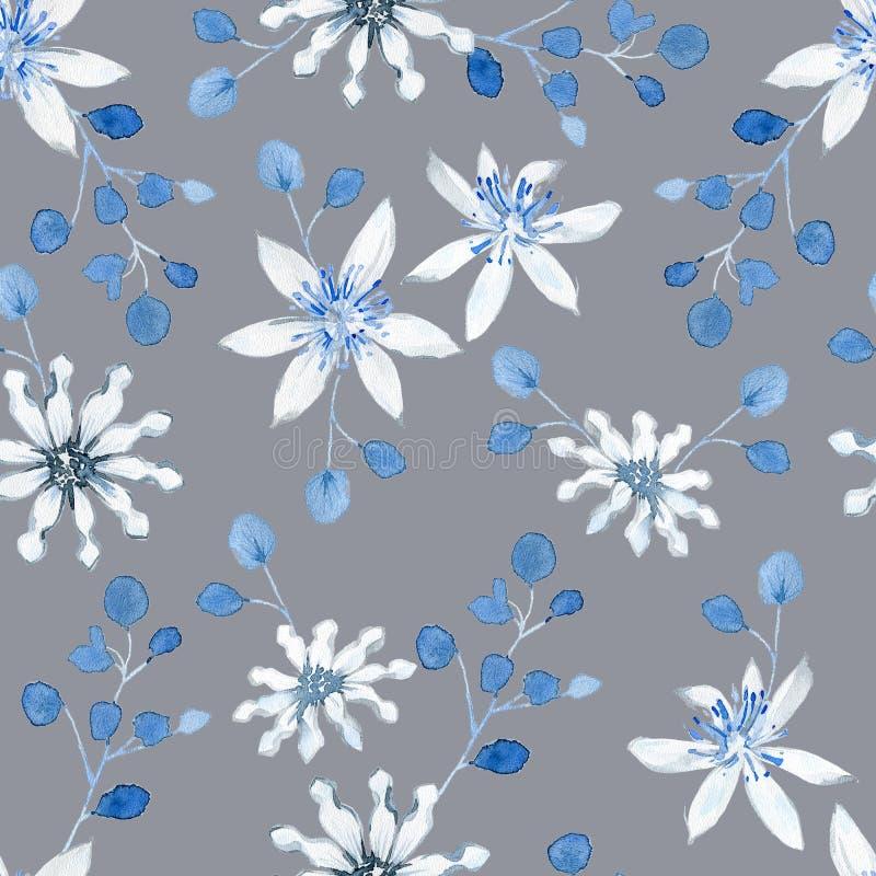 Wasserfarbenes nahtloses Muster mit schwarzen und blauen Pflanzen stockfotografie
