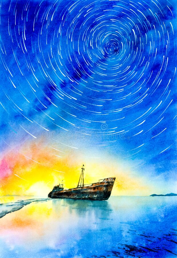Wasserfarbenmalerei - Verschwundenes Schiff mit Milchstraße und Star Trails lizenzfreie stockbilder