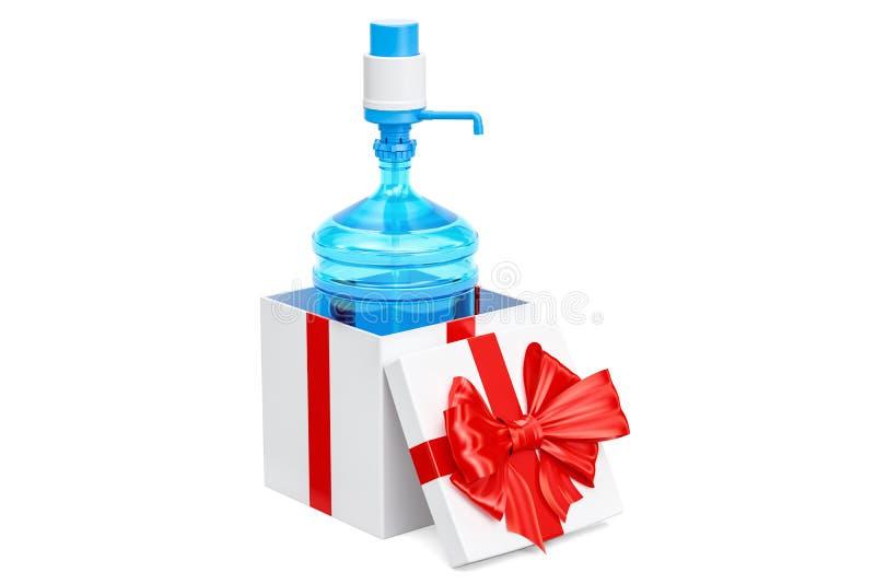Wasserflasche mit Pumpenzufuhr innerhalb der Geschenkbox, Geschenkkonzept vektor abbildung