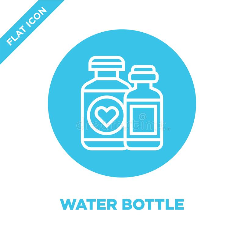 Wasserflaschen-Ikonenvektor von der Nächstenliebeelementsammlung Dünne Linie Wasserflaschen-Entwurfsikonen-Vektorillustration Lin lizenzfreie abbildung
