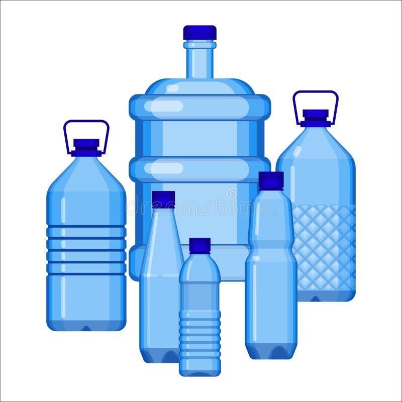 Wasserflaschen stellten von der verschiedenen Größe auf Weiß ein lizenzfreie abbildung