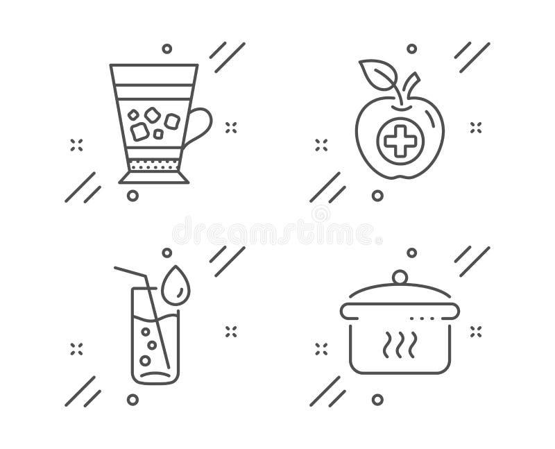 Wasserglas-, Frappe- und Medical-Food-Icons Pfannenschild Getränkedosen, kaltes Getränk, Apfel Vector lizenzfreie abbildung