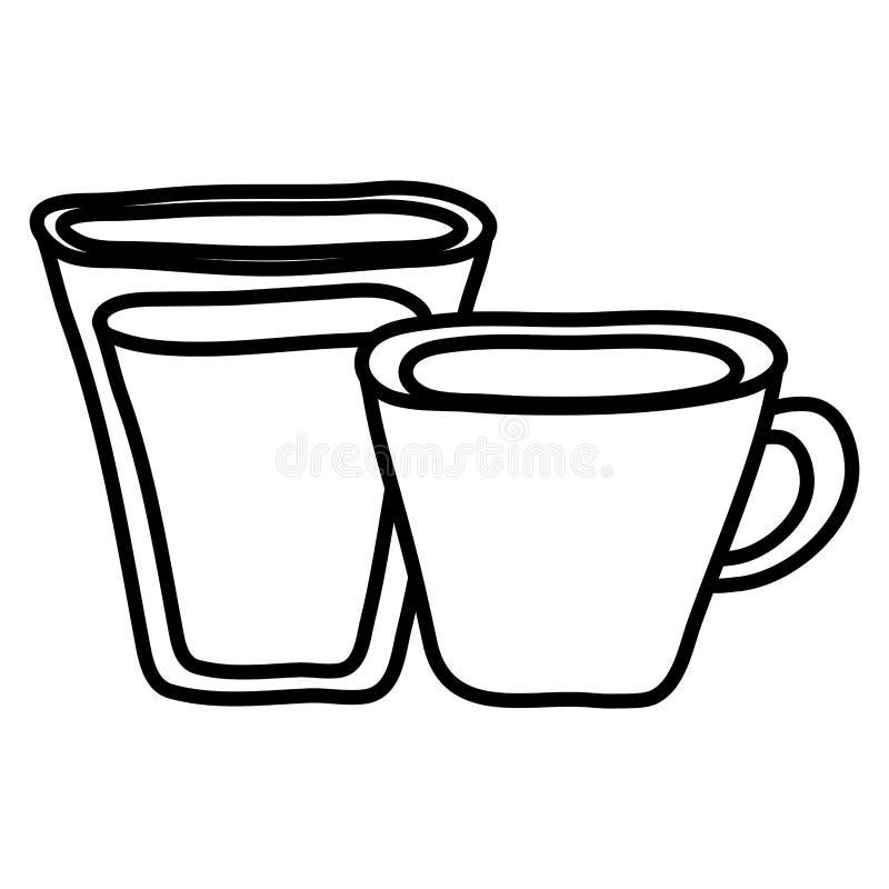Wasserglas mit Kaffeetasse stock abbildung