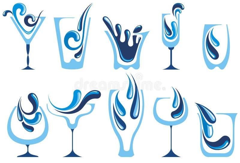 Wasserglassammlung lizenzfreie abbildung