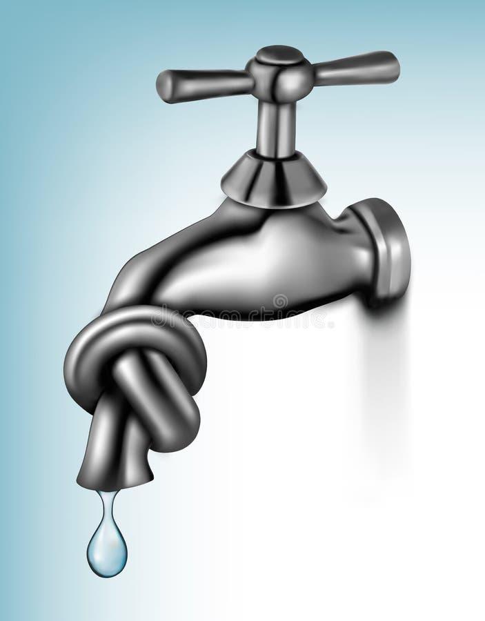 Wasserhahn gebunden im Knoten stock abbildung