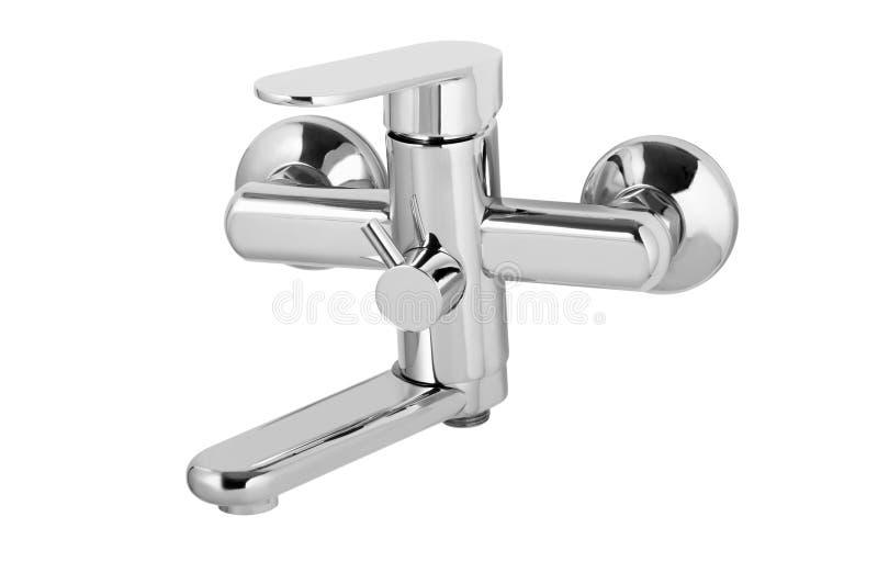 Wasserhahn, Hahn für das Badezimmer, kalt-warmwasser des Küchenmischers Chrome überzog Metall Getrennt auf einem weißen Hintergru lizenzfreies stockfoto