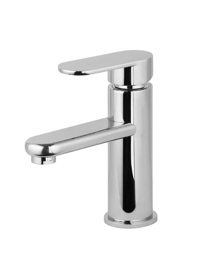 Wasserhahn, Hahn für das Badezimmer, kalt-warmwasser des Küchenmischers Chrome überzog Metall Getrennt auf einem weißen Hintergru stockfotografie