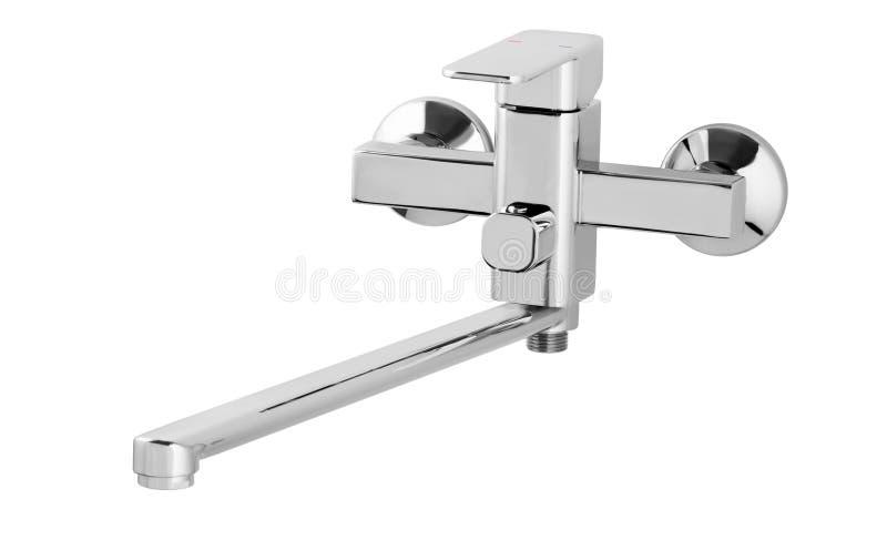 Wasserhahn, Hahn für das Badezimmer, kalt-warmwasser des Küchenmischers Chrome überzog Metall Getrennt auf einem weißen Hintergru lizenzfreie stockfotos