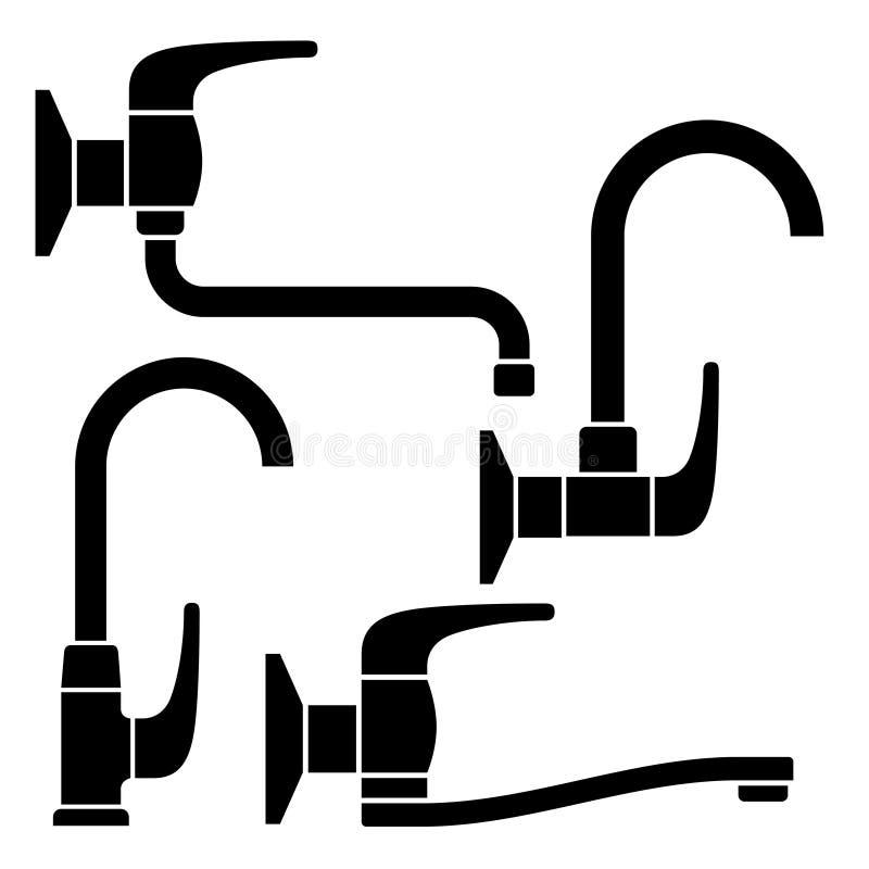Wasserhahnschwarzsymbole lizenzfreie abbildung