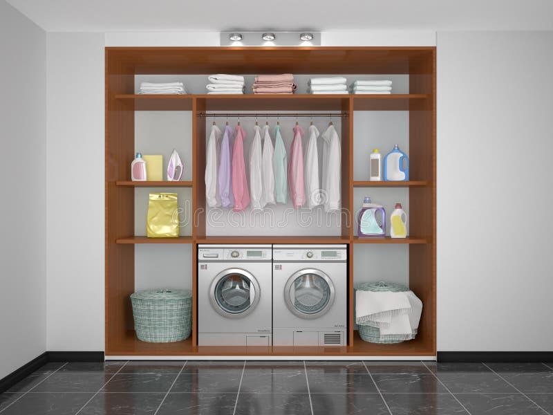 Wasserij in de voorraadkast Wasmachine en Droger royalty-vrije illustratie