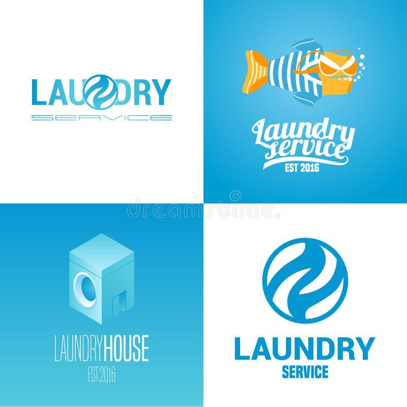 Wasserij, het wassen de dienstinzameling van vectorembleem, pictogram, symbool, embleem royalty-vrije illustratie