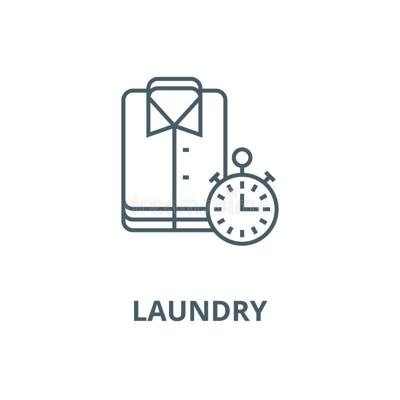 Wasserij, schoonmakende doeken, uitdrukkelijk schoonmakend vectorlijnpictogram, lineair concept, overzichtsteken, symbool stock illustratie