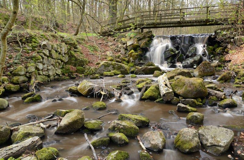 Wasserkaskaden in Degeberga stockbilder
