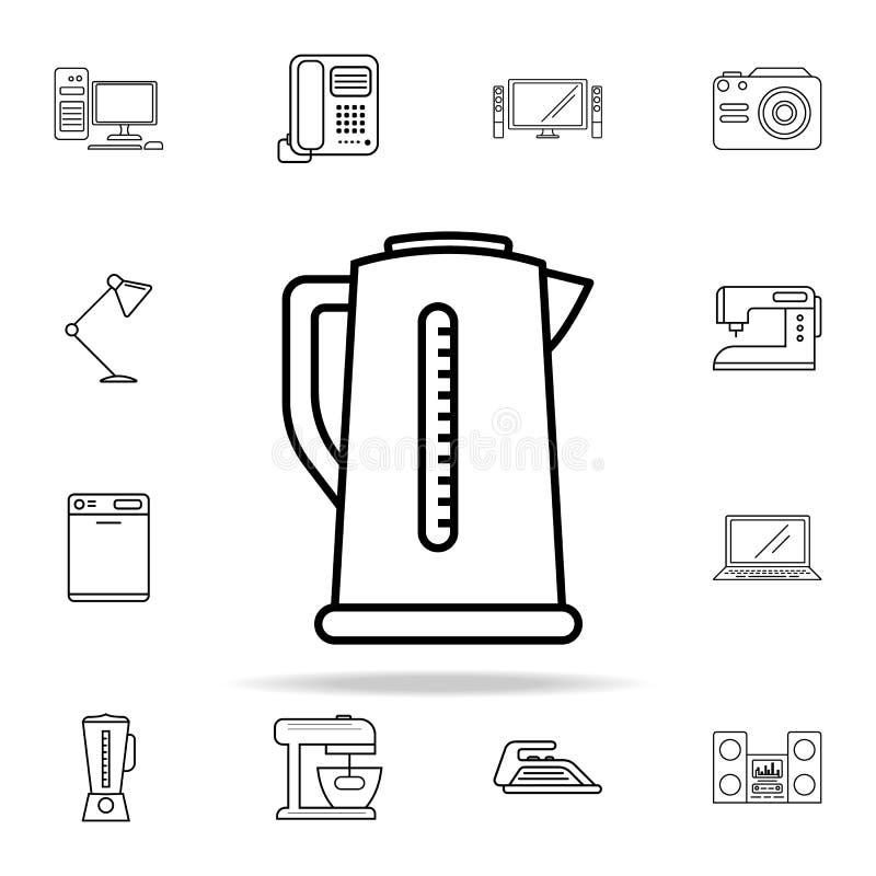 Wasserkocherikone Geräteikonen-Universalsatz für Netz und Mobile stock abbildung