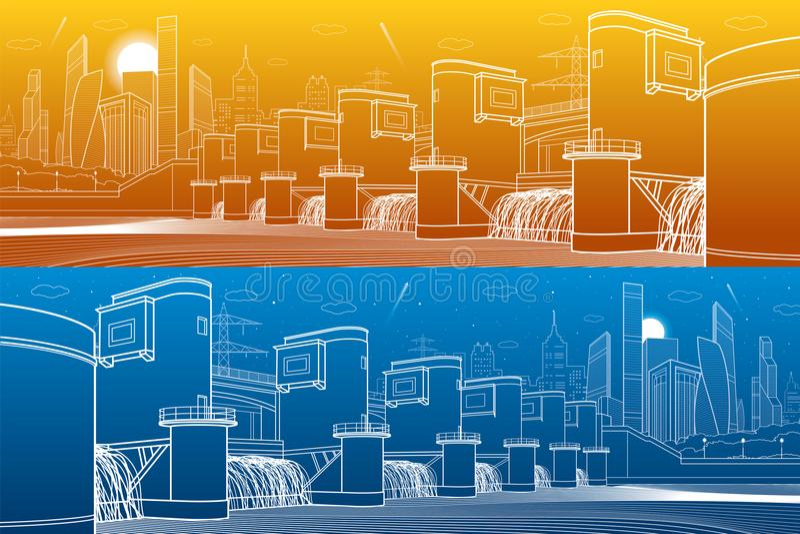 Wasserkraft-Kraftwerk Fluss-Verdammung Energiestation Industrielles Illustrationspanorama der Stadtinfrastruktur Weiße Linien auf lizenzfreie abbildung