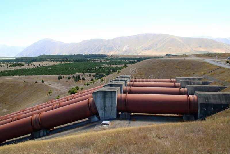 Wasserkraftstation nahe Twizel Neuseeland stockfoto