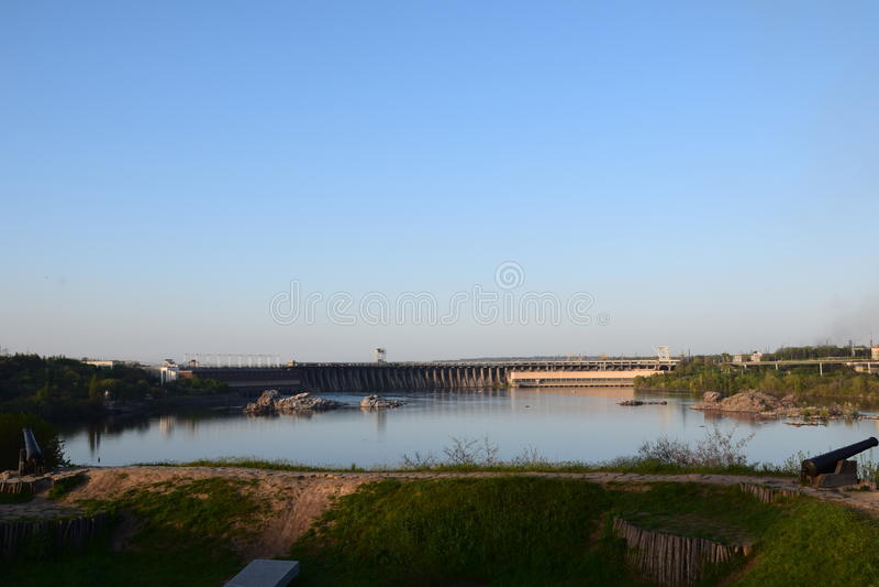 Wasserkraftwerk Zaporozhye stockfoto