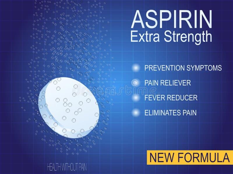Wasserlösliche Pillen- oder Drogenanzeigen, Schmerzmittel, aspirin Die Heilung für Schmerz in der Brust, Kopfschmerzen, Gelenksch lizenzfreie abbildung