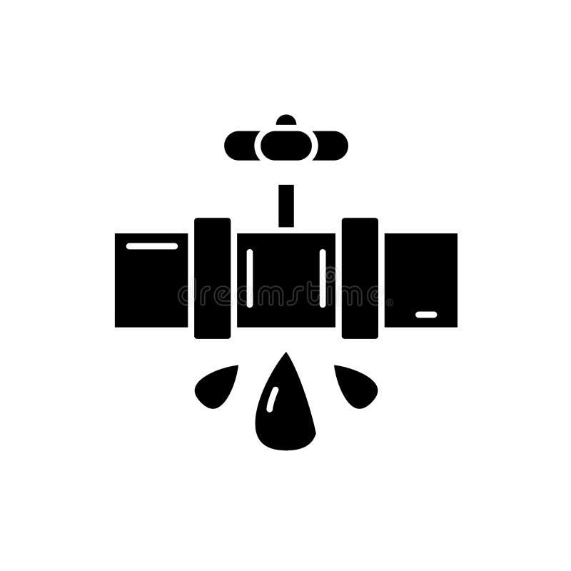 Wasserleitungen schwarze Ikone, Vektorzeichen auf lokalisiertem Hintergrund Wasserleitungskonzeptsymbol, Illustration lizenzfreie abbildung