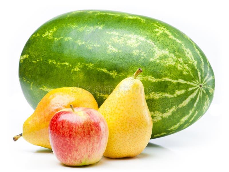 Wassermelone, Apfel und Birnen. stockfotos