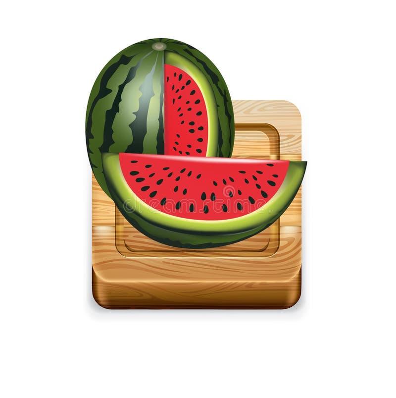 Wassermelone auf hölzernem Küchenschneidebrett vektor abbildung