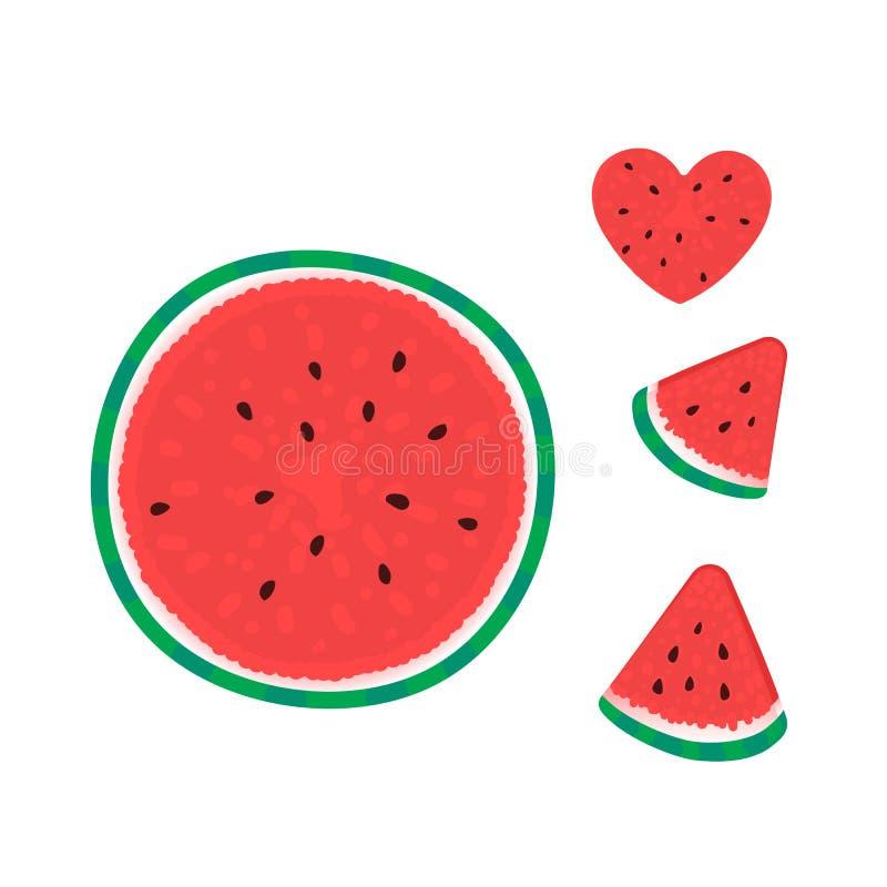 Wassermelone mit der Scheibe Vektorillustration lokalisiert auf Weiß Palmen mit dem Meer und dem h?lzernen Brett stock abbildung