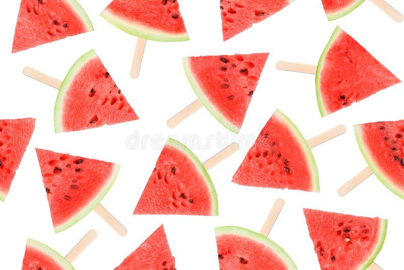 Wassermelone nahtlos, Stücke der reifen roten Wassermelone auf einem weißen Hintergrund stockbilder